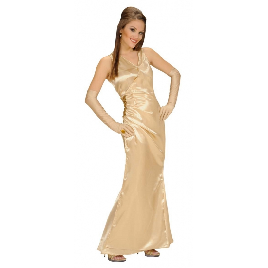 Gouden Cocktailjurk.Verkleedkleding Gouden Jurk Voor Dames Bij Kerst Artikelen Nl