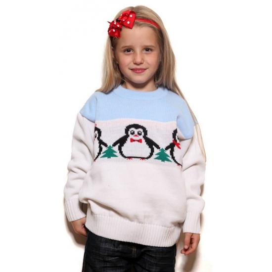 Foute Kersttrui Pinguin.Foute Pinguin Print Truien Voor Kids Bij Kerst Artikelen Nl